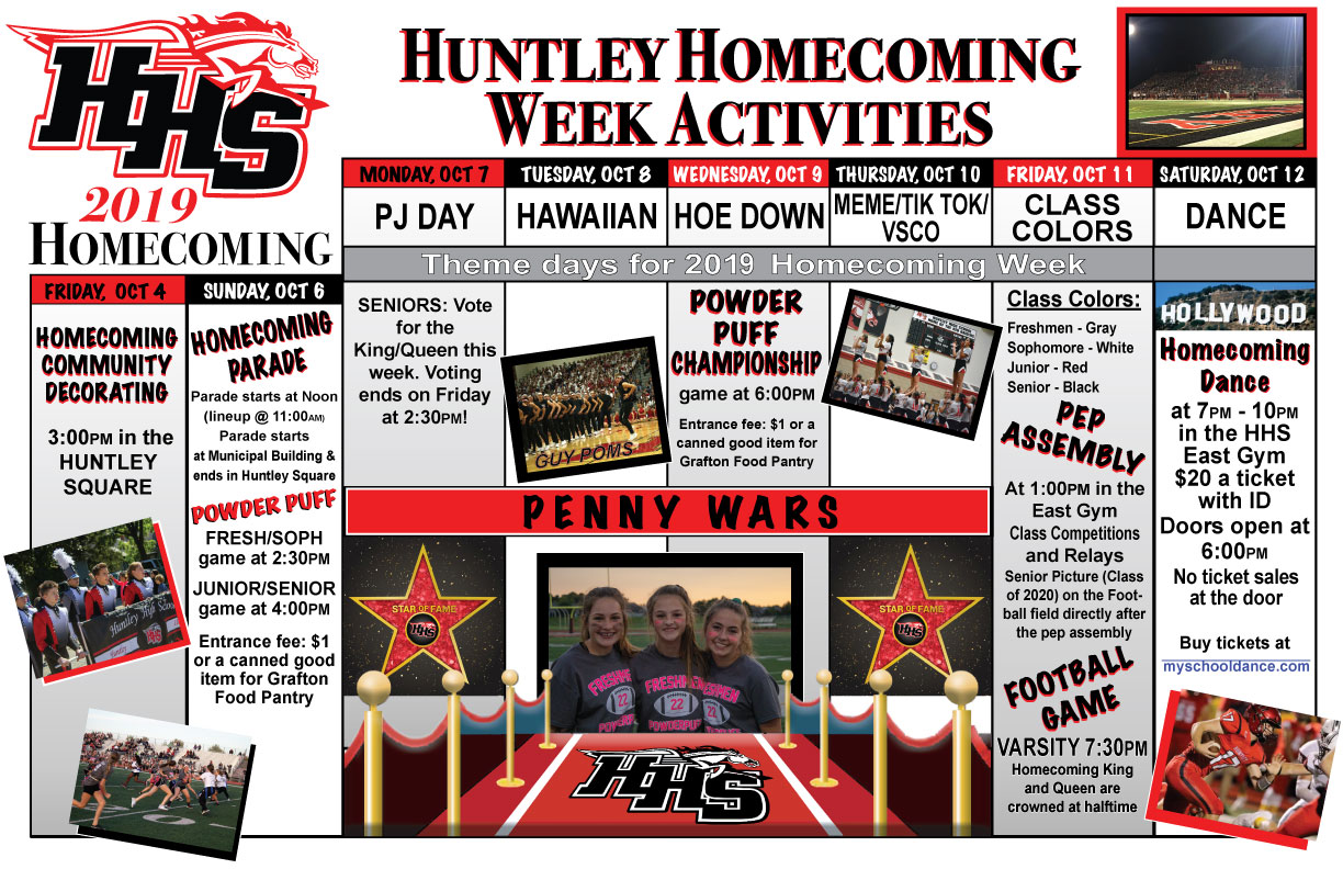 2019 Homecoming Week Calendar