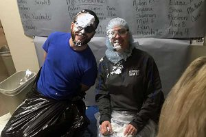 Staff get pie in the face