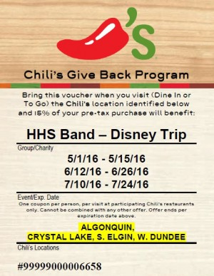HHS Band Chili's Fundraiser Flyer