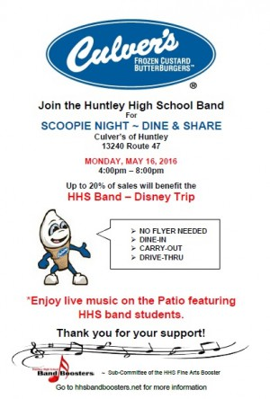 HHS Band Culver's Fundraiser Flyer