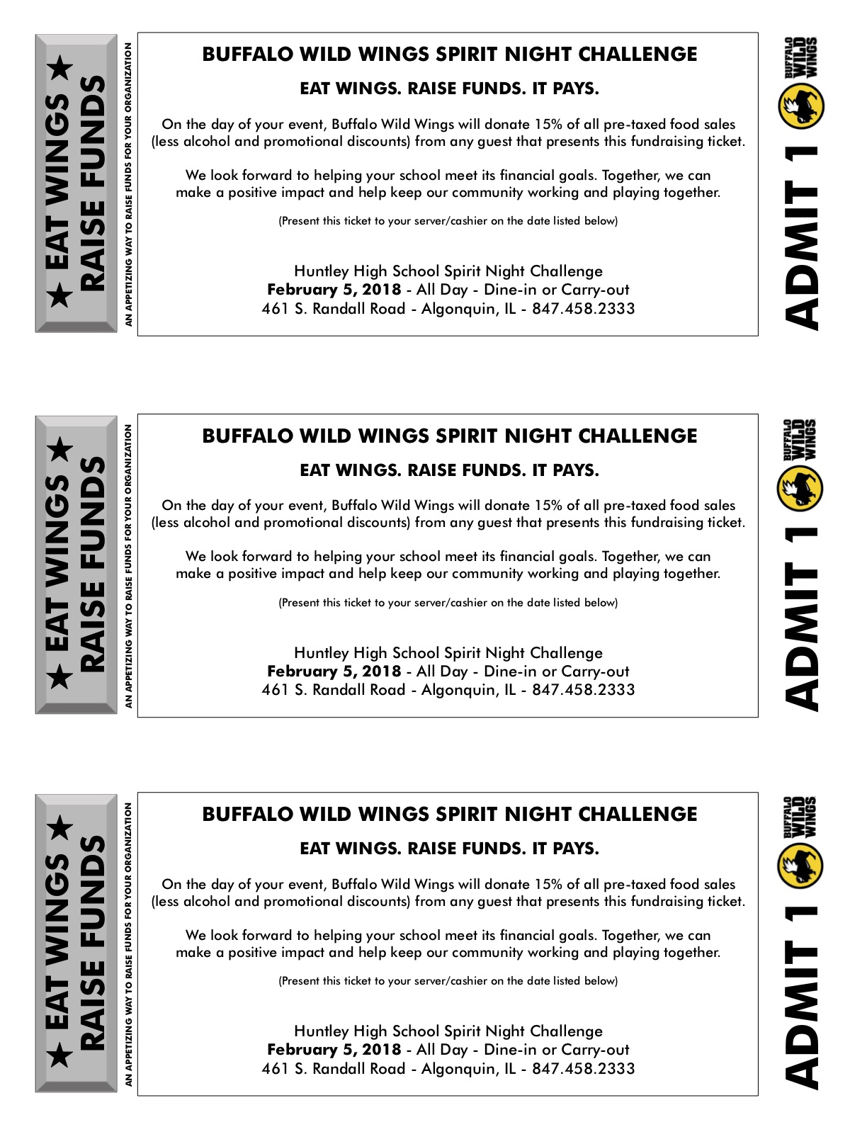 Buffalo Wild Wings Spirit Night Challenge | Huntley Community School ...