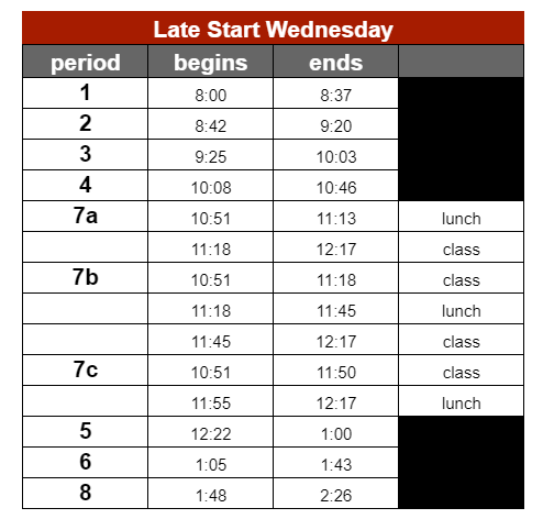 LSW Bell Schedule